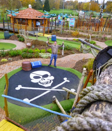 Richard Gottfried at the Pirate Island Adventure Golf course at Hoebridge Golf Centre in Old Woking, Surrey - the 352nd course played on our tour