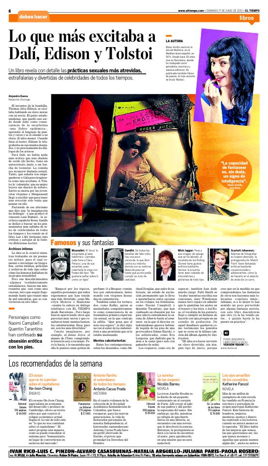 El Tiempo, el diario más importante de Colombia   Lo que más excitaba a Dalí, Edison y Tolstoi