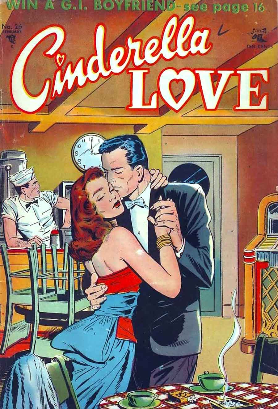 Cinderella Love v2 #26 st.john romance comic book cover art by Matt Baker