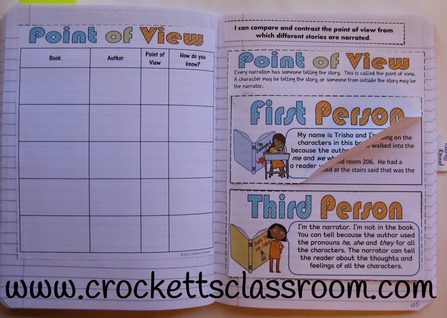 Teach students about point of view with this interactive notebook page.
