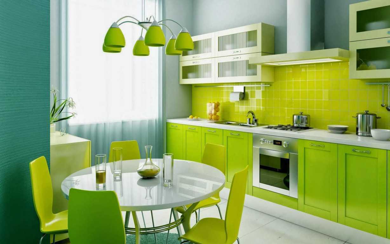 Contoh-Rencana-Dapur-dengan-nuansa-hijau-dengan-meja-makan