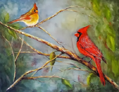 """Courting Cardinals"", oils on linen canvas"