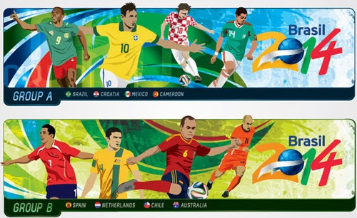 Brazil 2014 World Cup Group Headers