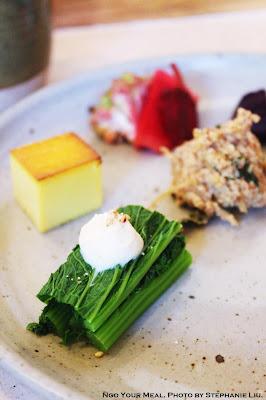 Mustard Greens with Tofu Dashi at Okonomi