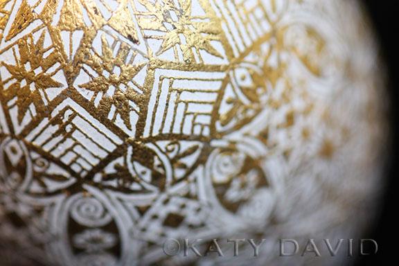 """Curiology"" 2016 ©Katy David Goose eggshell, beeswax, 23.5 K gold leaf"