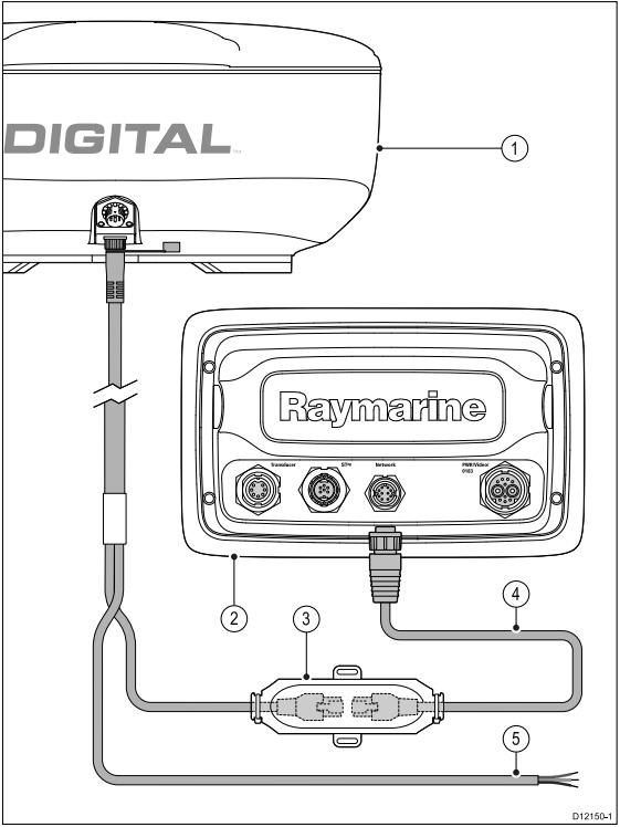 raymarine radar bedradings schema