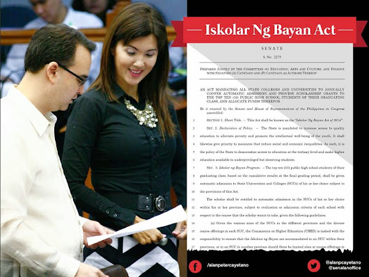 Senate has approved Iskolar ng Bayan Act of 2014