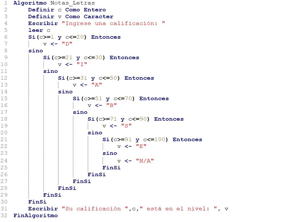 algoritmo para convertir calificaciones numéricas a letras