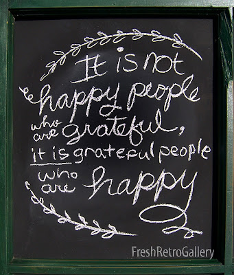 Chalkboard art: It is not happy people who are grateful, it is grateful people who are happy