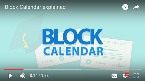 snapshot of a Youtube video with illustrated text: Block Calendar