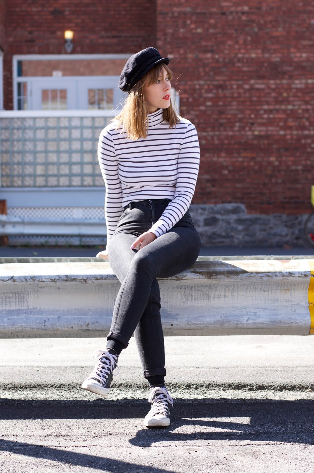 A simple outfit in stripes and jeans