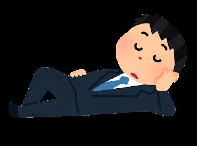 ごろごろする会社員のイラスト(男性)