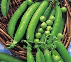 Pea pods and peas in a wicker basket