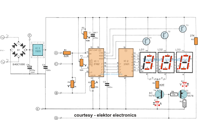 Circuit diagram for digital ammeter voltmeter circuit