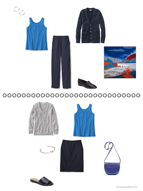 how to wear a bright blue tank top with navy and grey