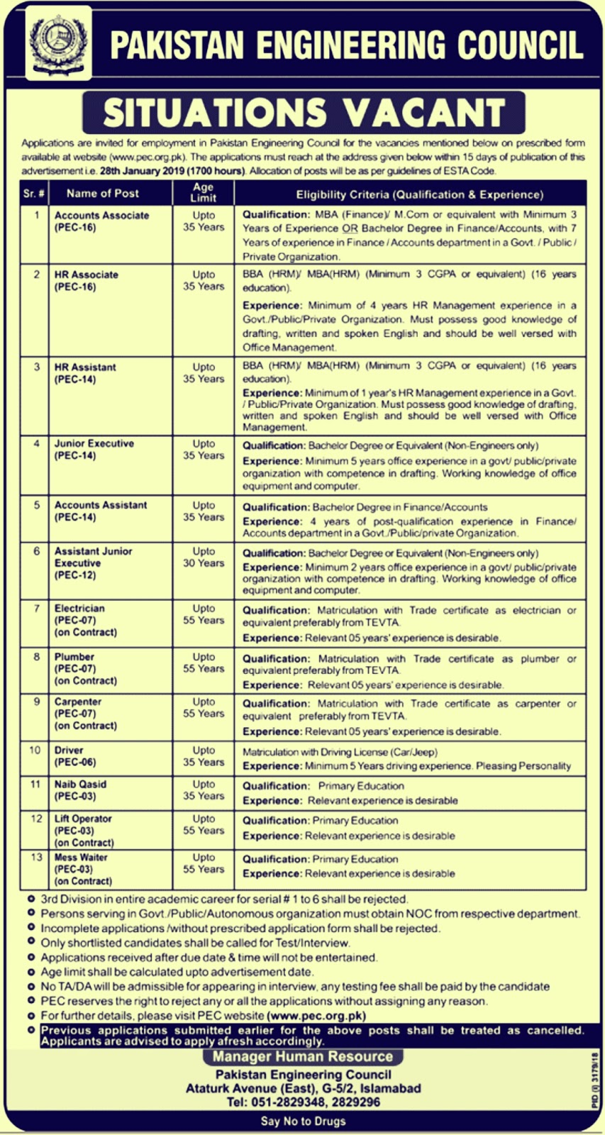 PEC New Jobs 2019 By Pakistan Engineering Council