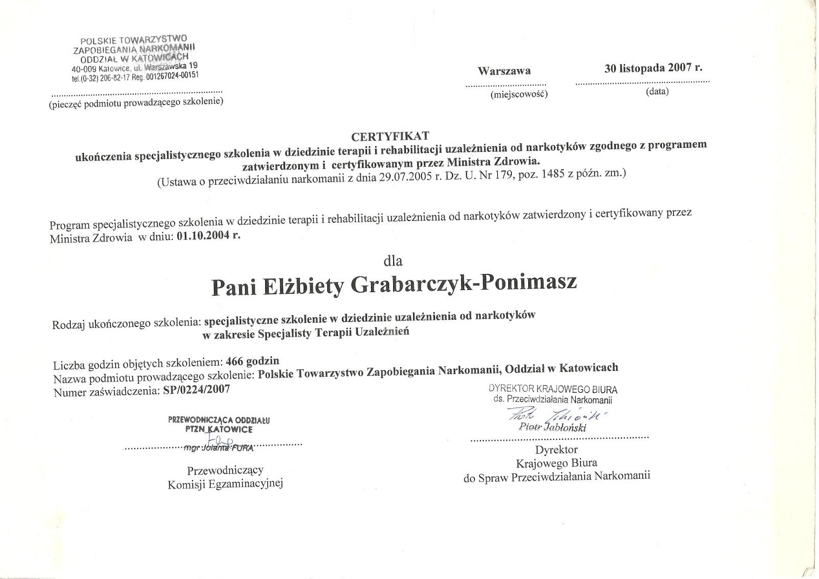 Dobry psycholog Warszawa - certyfikat specjalisty