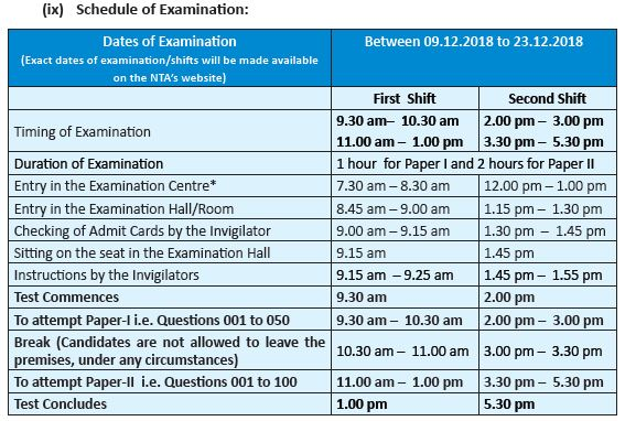 image : Time Schedule for UGC NET December, 2018 @ cbse-net.in