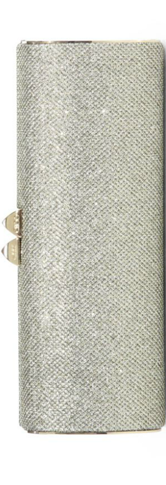 Jimmy Choo Charm Glitter Box Clutch in Light Bronze