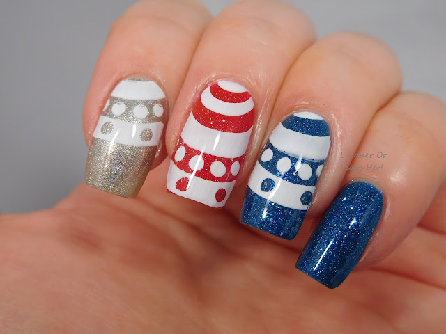 Spellbound Nails Rocket's Red Glare & Twilight's Last Gleaming + Literary Lacquers Stinky Little Truck + UberChic Beauty 10-02