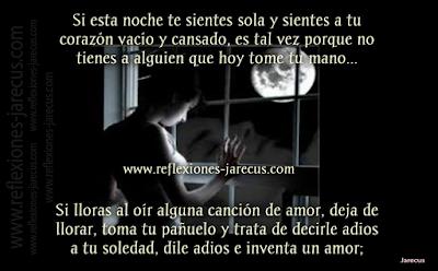 Si esta noche te sientes sola y sientes a tu corazón vacío y cansado, es tal vez porque no tienes a alguien que hoy tome tu mano; si lloras al oír alguna canción de amor, deja de llorar, toma tu pañuelo y trata de decirle adiós a tu soledad, dile adiós e inventa un amor; invéntate un romance, sueña con ese hombre que esperas y piensa en que mañana con ese hombre estarás.