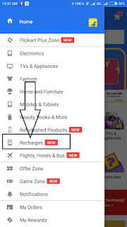 flipkart recharge option