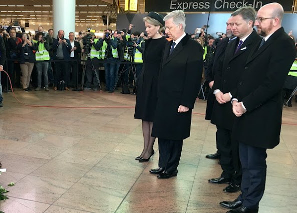 Queen Mathilde and King Philippe of Belgium attend a memorial ceremony to mark the first anniversary of the Brussels attacks by Islamic extremists at Brussels' airport in Zaventem