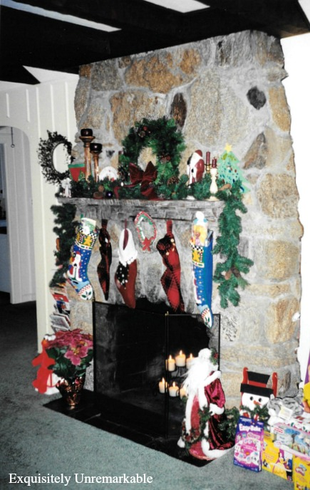 Stone Fireplace At Christmas Before Pictures