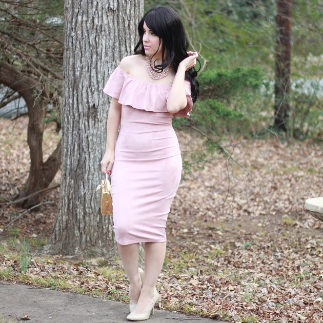 SheIn Pink Faux Suede Dress