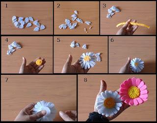 Tutorial Cara Membuat Aksesoris Bunga Daisy dari Flanel