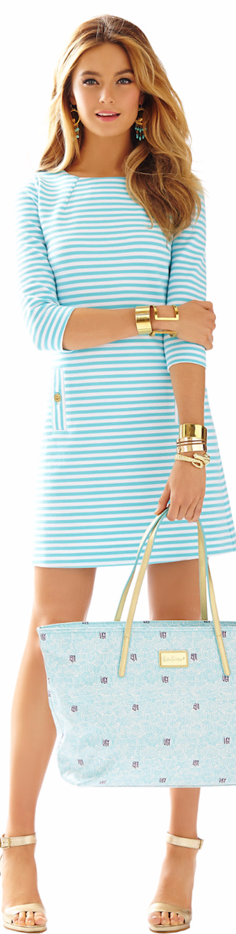 LILLY PULITZER CHARLENE KNIT SHIFT DRESS BLUE