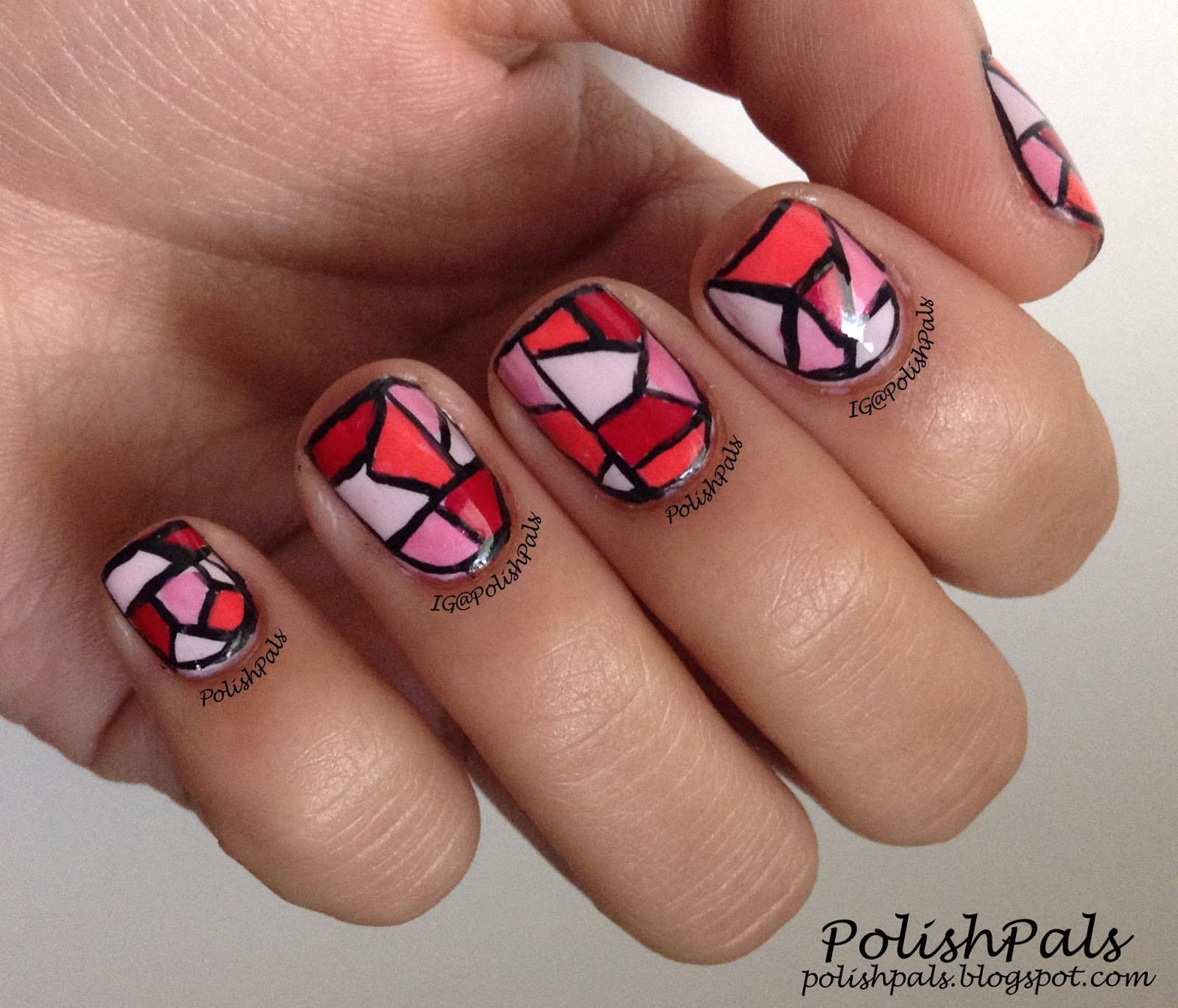 Polish Pals Pink Stained Glass Nails