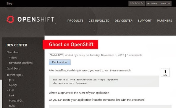 Ghost hosting service on RedHat OpenShift