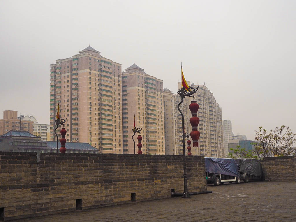 Apartment blocks next to Xi'an City Walls in China