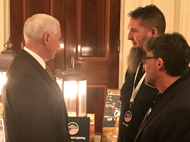 Vice President Mike Pence views American Made lighting by Lanternland at the White House on July 23rd