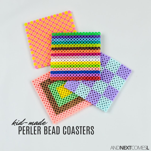 Perler bead craft idea for kids: make a DIY perler bead coaster set from And Next Comes L