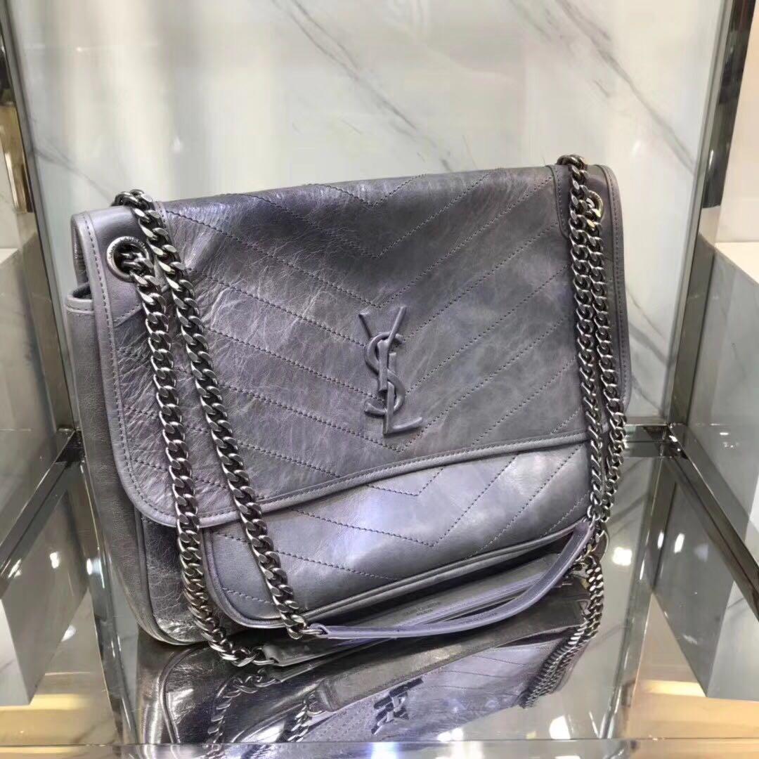 4642a0a538017 YVES SAINT LAURENT YSL Large Niki Chain Bag in Vintage Crinkled And Quilted  Fog Leather. Variation  Black Variation  Fog