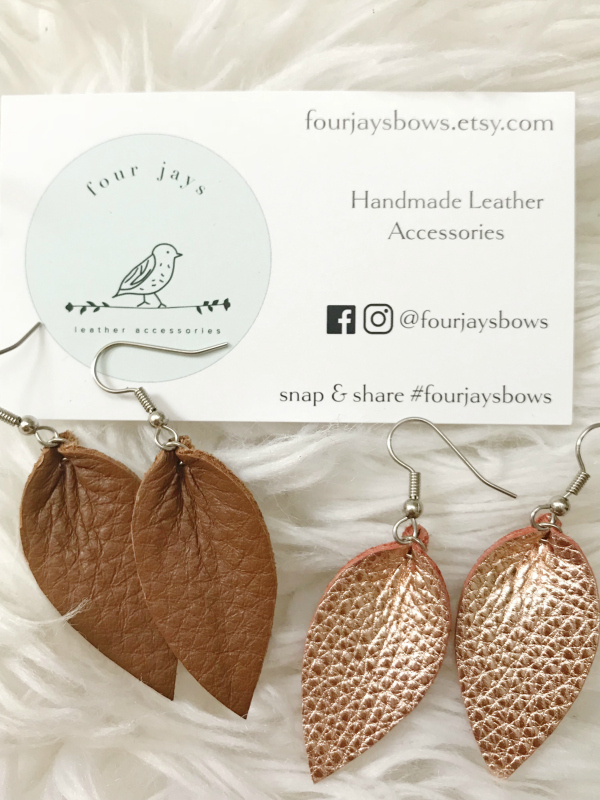handmade leather accessories, leather earrings, leather bows, etsy shop, north carolina blogger, style on a budget