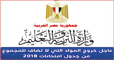 خروج المواد التي لا تضاف للمجموع من جدول الأمتحانات 2018