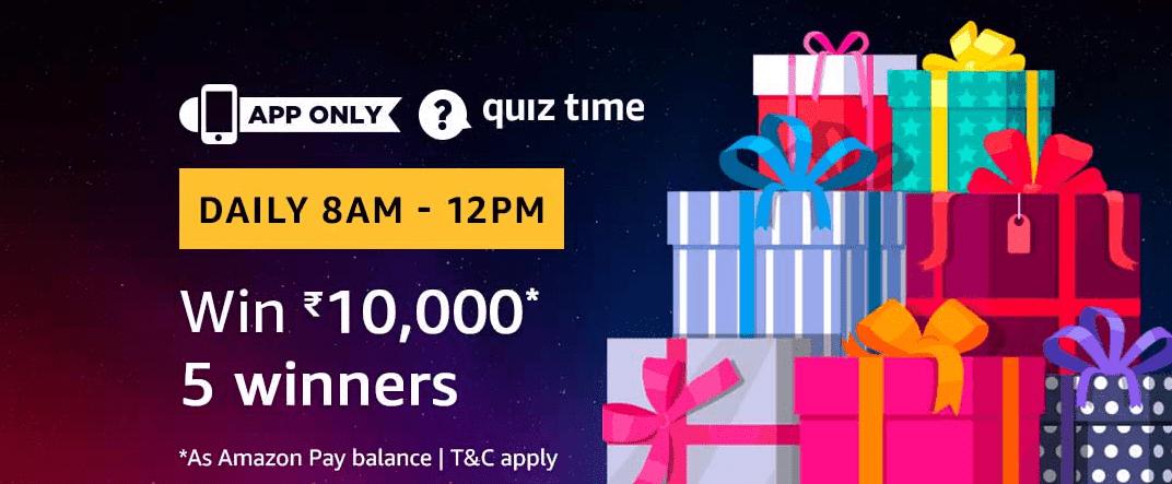 Amazon Quiz Today  01 July  2019 Answers - Win Rs.10000 Amazon Pay Balance
