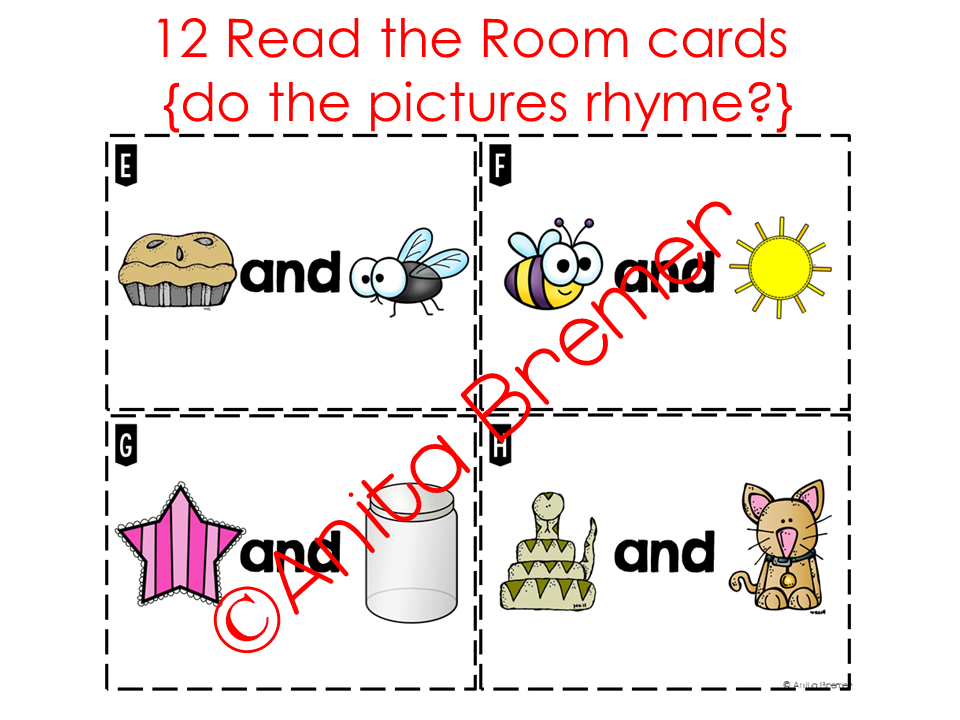 Read the Room rhyming activity for Kindergarten