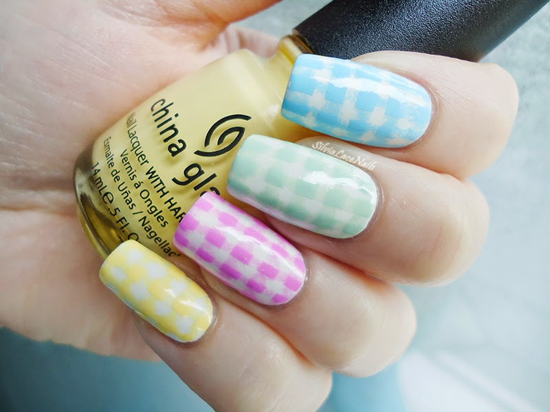 Easter pastel gingham nail art