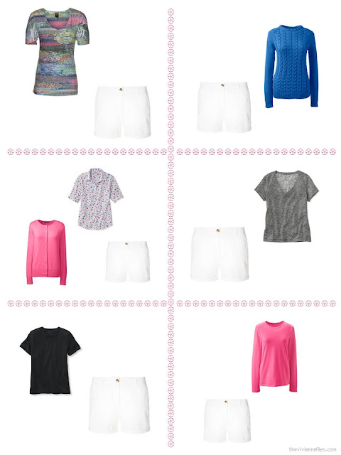 "Six ways to style a pair of white shorts from a ""Whatever's Clean"" wardrobe"