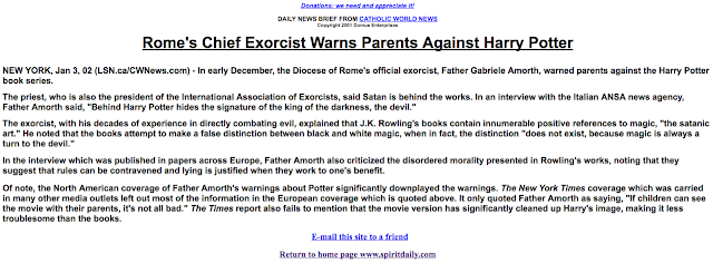 Harry Potter warning from Fr. Amorth on SpiritDaily.com
