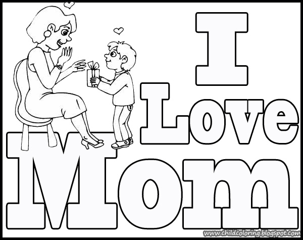 It is an image of Selective I Love My Mommy Coloring Pages