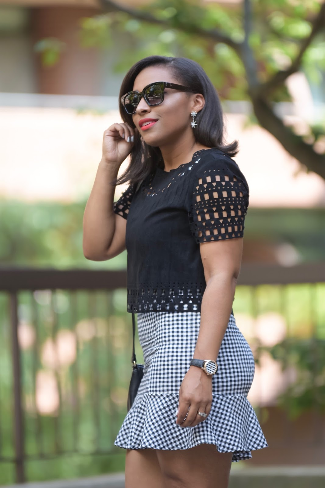 Vichy, black and white looks, latina blogger, dominican blogger, armandhugon, laser cut top