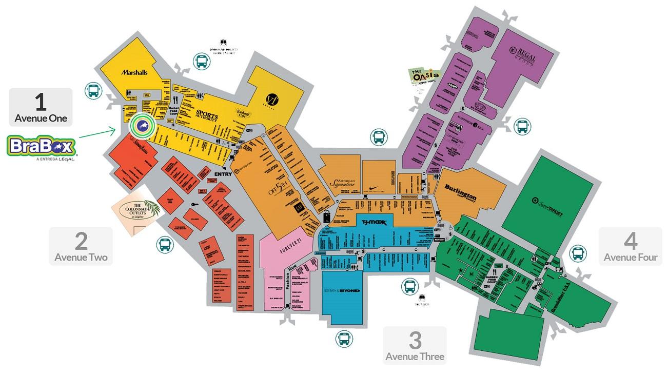 7d1944dd40ae9 Mapa do outlet Sawgrass Mills Miami
