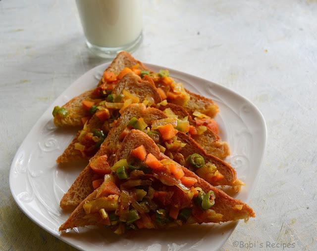 Vegetable Toast | Vegetable Masala Bread Toast | Easy Breakfast Recipe