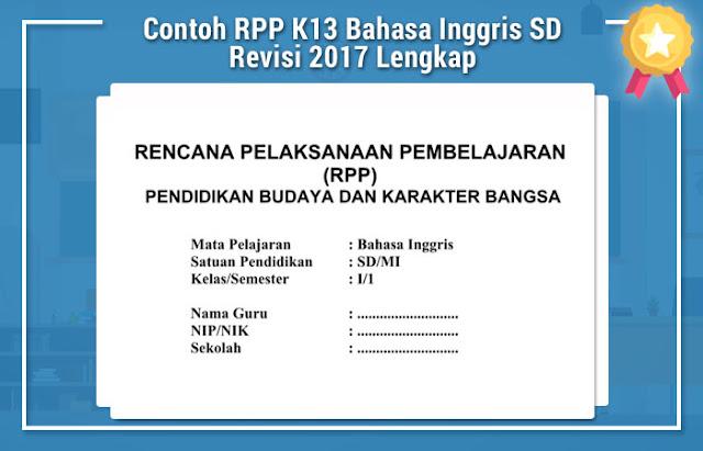 Contoh RPP K13 Bahasa Inggris SD Revisi 2017 Lengkap