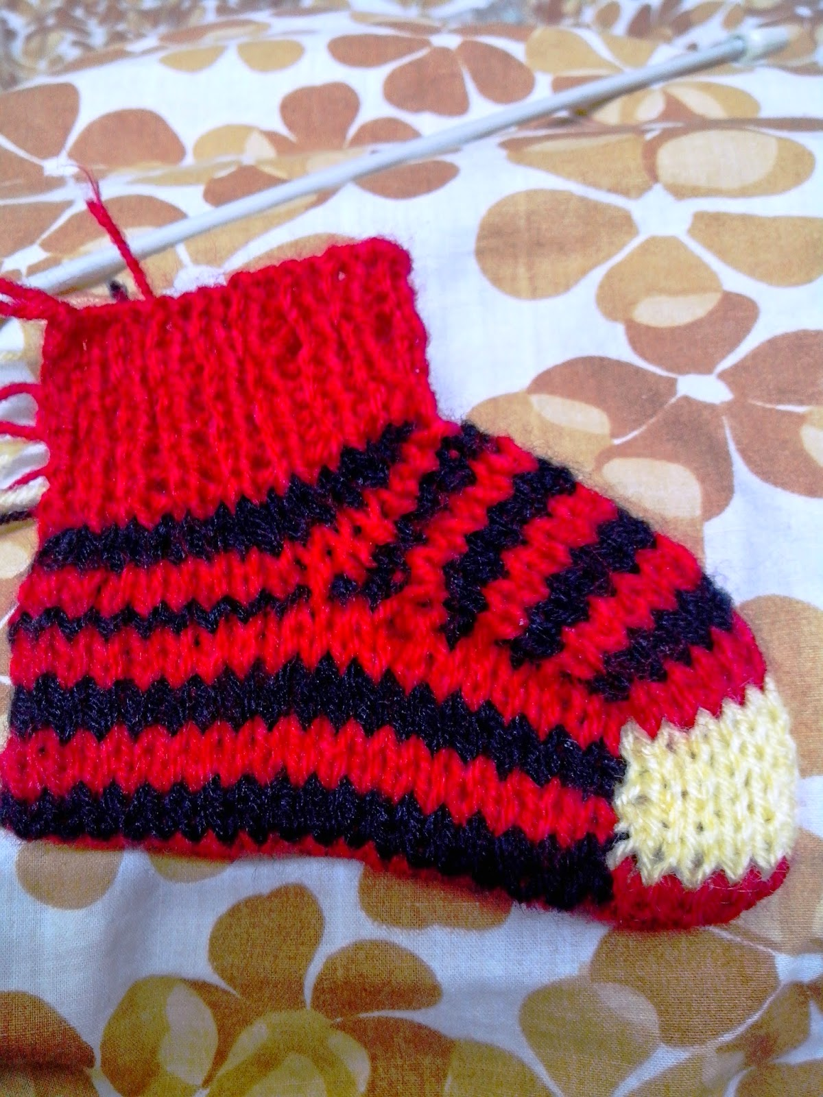 red and black striped bootie
